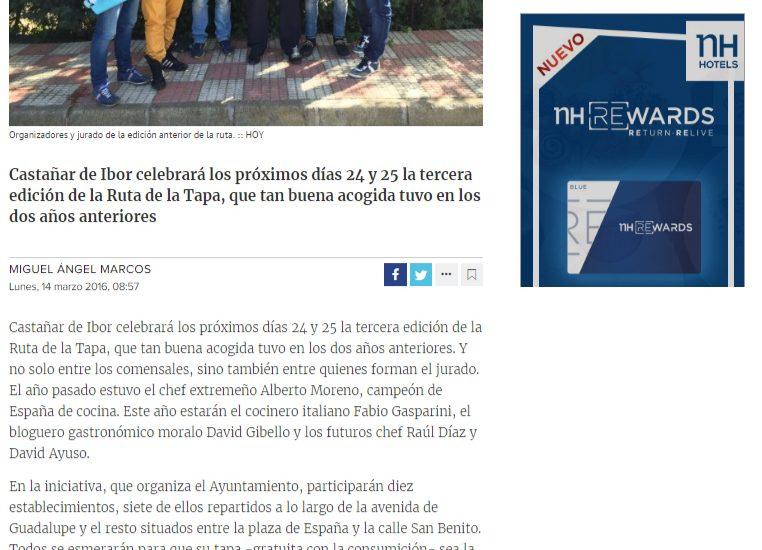 Diario Hoy, Ruta de la tapa Castañar de Ibor