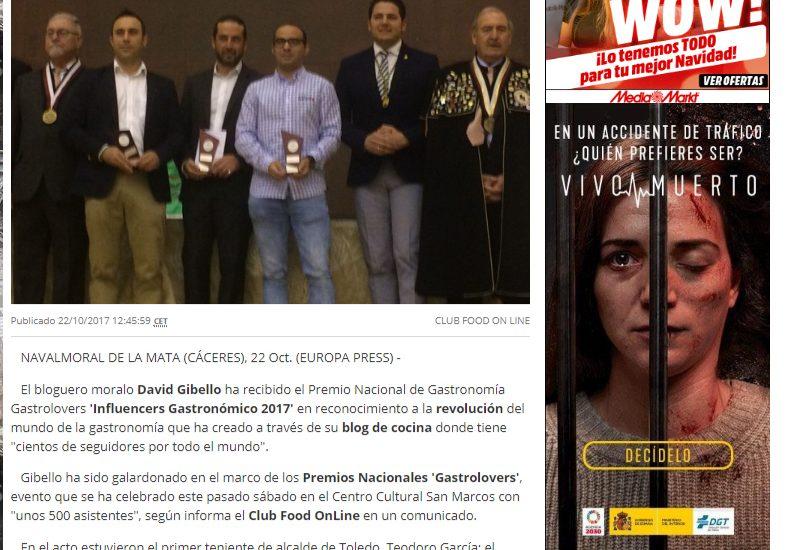 Europa Press. Premio nacional gastronomia influencers
