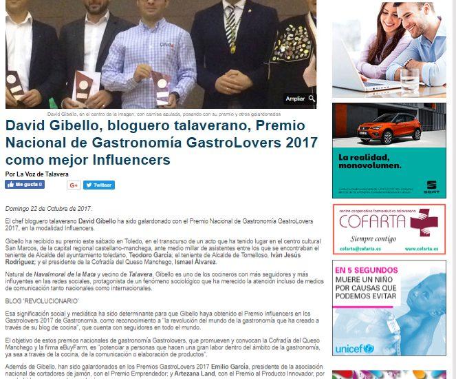 La Voz de Talavera, Premio Nacional Gastronomia Gastrolovers