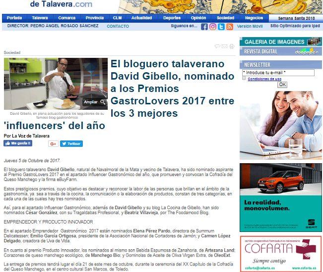 La Voz de Talavera, Premio nacional Gastrolovers