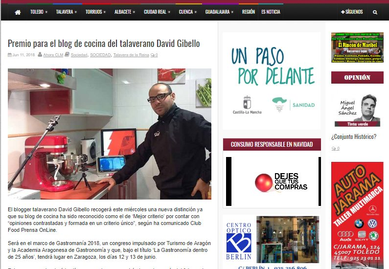 Ahoraclm, Premio para David Gibello