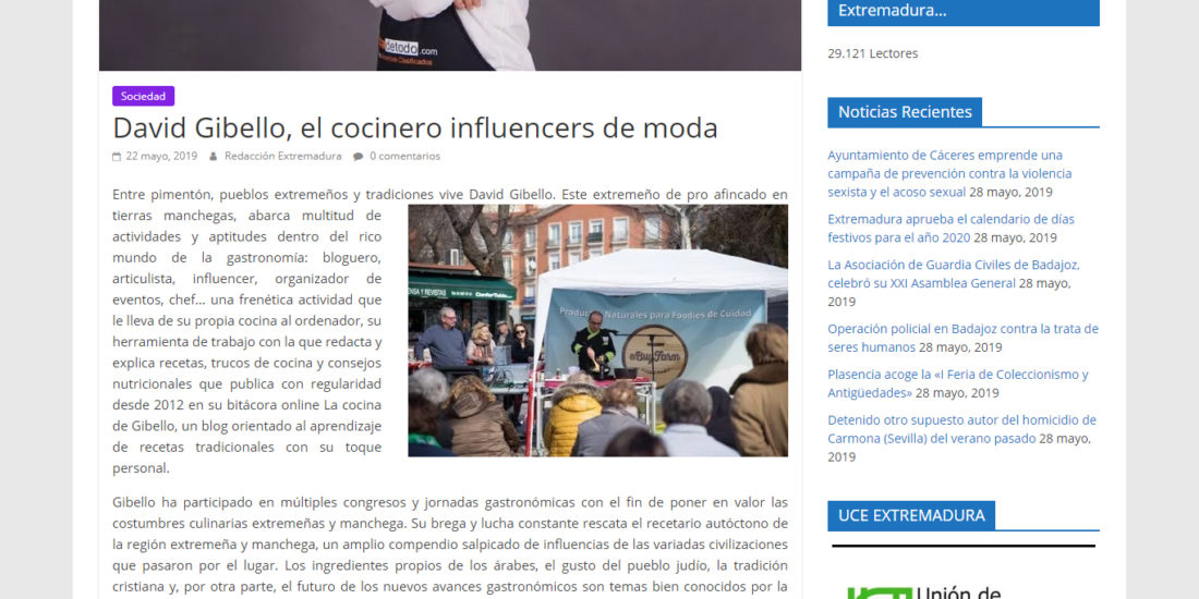 Panorama Extremadura, David Gibello el cocinero influencers de moda