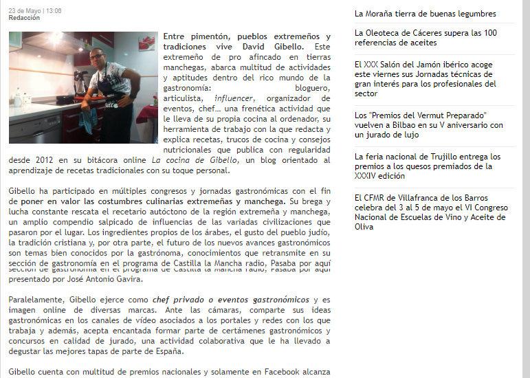 El correo de Extremadura. David Gibello el cocinero influencer de moda