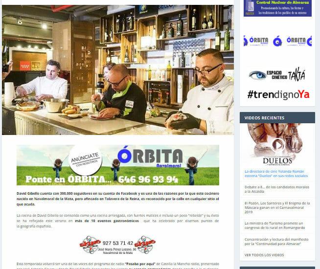 Orbita Navalmoral David Gibello referente en la cocina