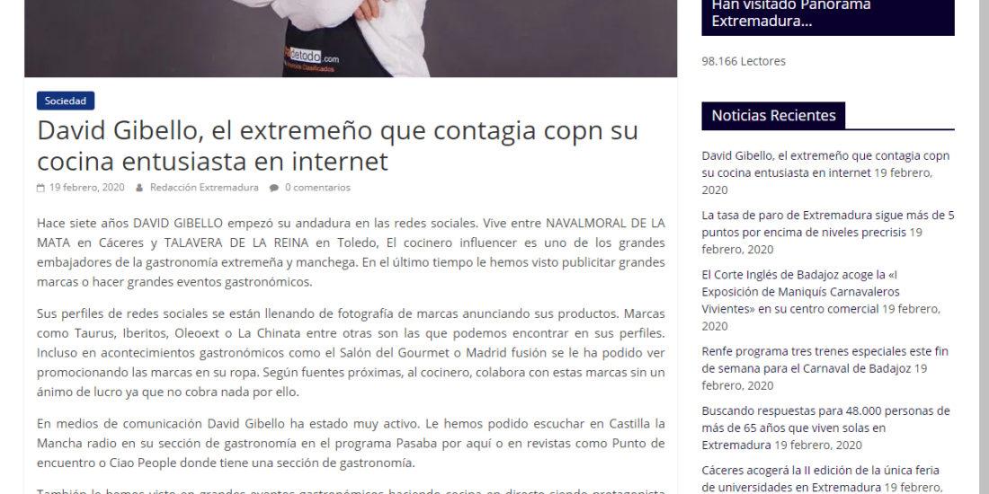 Panorama Extremadura David Gibello, El extremeño que contagia con su cocina en internet