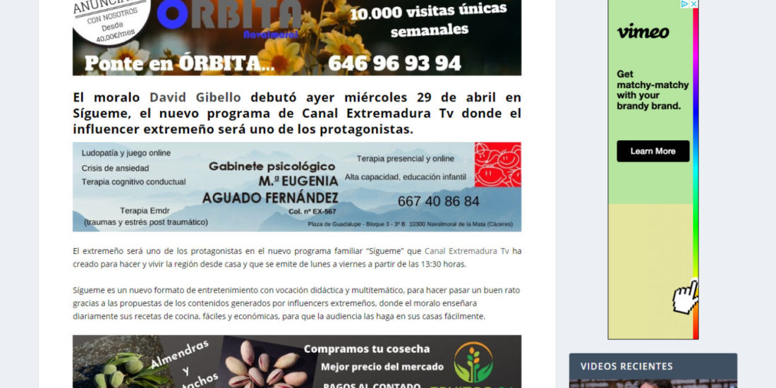 David Gibello protagonista del programa Sigueme de Canal Extremadura Orbita Navalmoral