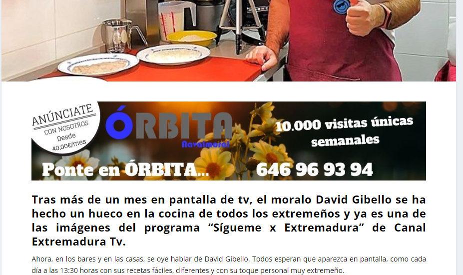 Orbita Navalmoral, El moralo David Gibello se hace un hueco en canal Extremadura tv