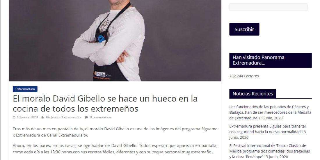 Panorama Extremadura, David Gibello se ha un hueco en la cocina de los extremeños.