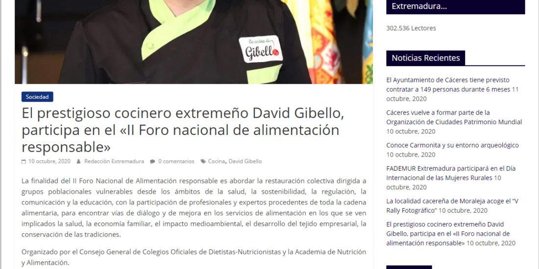 David Gibello Foro nacional de alimentación responsable Panorama extremaduura