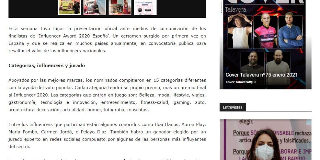 Cover Talavera Premios Influencer Adwards España 2020 David Gibello
