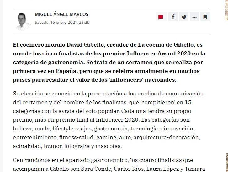 David Gibello influencers adwards España 2020 Hoy de Extremadura